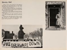 "Athena Yearbook, 1964. Ohio University Homecoming 1963, parade float saying, ""Spike Delaware Down"", women exiting Shively Hall, ""Rah, Rah, Freshman"" :: Ohio University Archives"