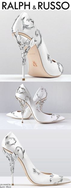 Ralph & Russo Eden Pump in White Satin & Silver - Women .- Ralph & Russo Eden Pump in Weiß Satin & Silber – Frauen Schuhe Mode Ralph & Russo Eden Pump in white satin & silver, - Fancy Shoes, Pretty Shoes, Beautiful Shoes, Me Too Shoes, Silver Wedding Shoes, Silver Shoes, Wedding Heels, Bling Wedding, Silver Dress
