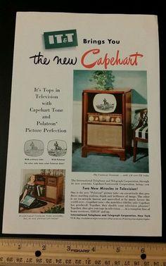 1950 IT&T Capehart tv vintage magazine ad old slot 7 television polatron
