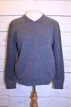 Polo Ralph Lauren Top L Gray Navy Blue Boys V Neck Long Sleeve Lambswool Sweater #RalphLauren #Pullover #DressyHoliday