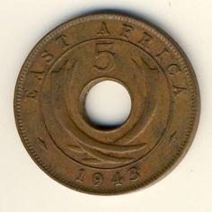 East Africa 1943 5 cent SA' mintmark XF'