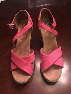f6d4e5eae41c1d Tom s Classics Women s Canvas Pink Wedges Shoes - Size 10  fashion  clothing   shoes
