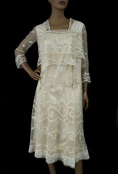 1915. Tambour embroidered net lace tea dress
