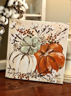 A new fall print on canvas available in my Etsy shop today! This one pictured is a Fall Canvas Painting, Autumn Painting, Autumn Art, Diy Painting, Painting & Drawing, Pumpkin Painting, Fall Paintings, Canvas Canvas, Country Paintings