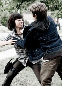 "The Walking Dead Season 6 Episode 5 ""Now"" Carl Grimes and Ron"