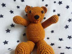 Crochet Teddy Bear Amigurumi 9 inches tall by TheHappyStar on Etsy