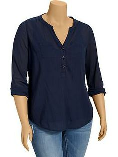 Women's Plus Banded-Collar Gauze Shirts | Old Navy