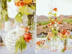 Tall centerpieces.