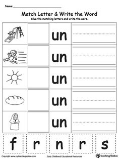 IP Word Family Match Letter and Write the Word: Practice identifying the beginning sound of each word by looking at the picture and placing the correct missing letter to complete the word. Your child will then write the words themselves. Phonics Words, Phonics Worksheets, Cvc Words, Preschool Learning, Kindergarten Worksheets, In Kindergarten, Preschool Binder, Word Family Activities, Cvc Word Families