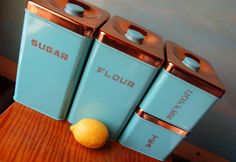 Vintage Kitchen Canister Tins.  New in Original Box.  Turquoise and Copper.  1950s Rockabilly