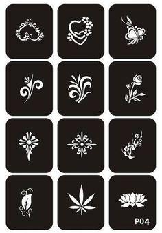 Glitter Tattoo Stencil Drawing for Painting Schablone Malerei Airbrush Tattoo Stencils Temporary Henna Templates Stickers Glitter Tattoo Stencils, Henna Stencils, Face Stencils, Cricut Stencils, Henna Tattoo Designs, Diy Tattoo, Art Nouveau Tattoo, Henna Ink, Tattoo Templates