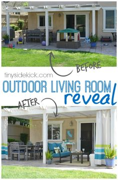 So many budget friendly DIY projects that went into this amazing outdoor living space! Adding this to my list of musts for my home. #diy #outdoorliving #roomreveal