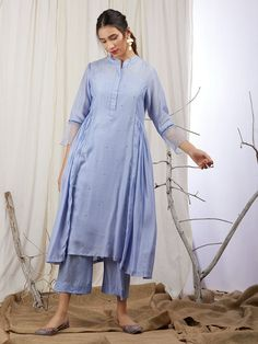 Blue Modal Silk Hand Embroidered Pleated Kurta with Cotton Lining and Pants - Set of 3 Lengha Blouse Designs, Silk Kurti Designs, Simple Kurta Designs, Kurta Designs Women, Kurti Designs Party Wear, Stylish Dress Designs, Designs For Dresses, Stylish Dresses, Simple Dresses