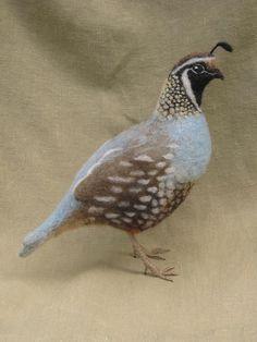 Nadel Gefilzte Schopfwachtel. Dieser sehr ausführliche Vogel erfolgt mit Hand-gefärbt, Wolle, Filz, um eine bewegliche Draht-Armatur.  Größe 10 Zoll
