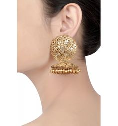 Silver Gold Plated Twisted Wire Star Crystal Jhumki