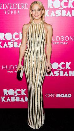 Kate Hudson in a gold sequined Balmain dress