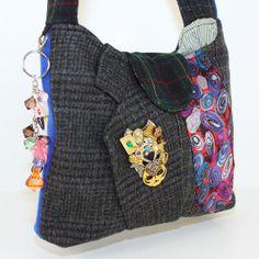 Wool Shoulder Bag, Wool Felt Handbag, Womens Recycled Bag, Shabby Chic Handbag, Plaid Bag, Multi Color Bag