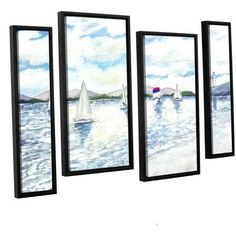 ArtWall Derek Mccrea Sailboats 2 inch 4-Piece Floater-framed Canvas Staggered Set, Size: 36 x 54, White