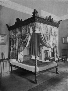"Early Georgian mahogany bedstead, owned by Richard A. Canfield, Esq, NYC, from ""The Practical Book Of Period Furniture"", by Harold Donaldson Eberlein And Abbot McClure, 1914."