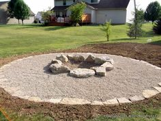 A large firepit installed in the back yard of this residence to entertain the teenagers of the family and there friends.