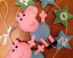 Inspirado por Peppa Pig Meninas Meninos Quarto personalizado gancho da parede