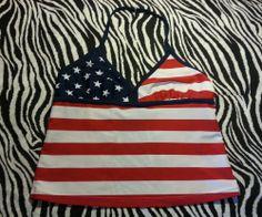 ~ FG Girls Red White Blue USA Flag Tank Swim Tankini Top Only ~ Size L 10 12~EUC