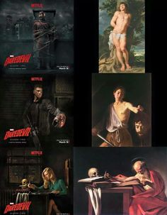 "Daredevil: ""St. Sebastian"" by Peter Paul Rubens Punisher: ""David with the Head of Goliath"" by Caravaggio Karen Page: ""St. Jerome Writing"" by Caravaggio. - Nerds Love Art"