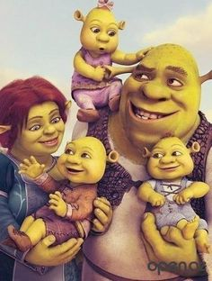 Shrek Birthday Invitations: Shrek and Family Birthday Invitation Dreamworks Animation, Disney And Dreamworks, Disney Pixar, Cartoon Monsters, Cartoon Characters, Shrek Character, Princesa Fiona, Shrek Costume, Family Birthdays