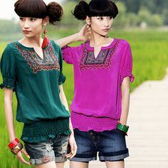 #Swanmarks Liebo New Summer Embroidered Silk Short Sleeve Blouse