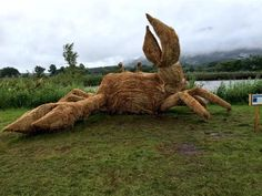Straw sculpture of a crab