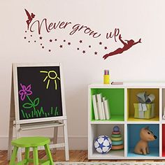 Walt Disney Quote - Never Grow Up - Tinkerbell - Peter Pan Sayings Vinyl Wall Decal For Kindergarten£¨Small,Black£© >>> You can find more details by visiting the image link.