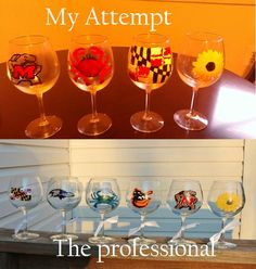 I saw these on Etsy and made them for our family gift exchange. I used acrylic paint with a lacquer after baking opposed to using enamel paints. They turned out pretty well for a first attempt and got some requests for more! Maryland Wineglasses