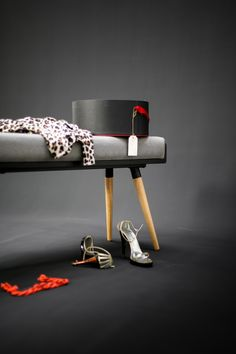 Stool / Seat / Ottoman / bench in black lacquered by Habitables