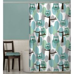 $13.75 w/free shipping In shades of Green, Blue and Teal. 72x72 See matching accessories in blue, green & light blue. CUTE SET! Maytex Owl Fabric Shower Curtain