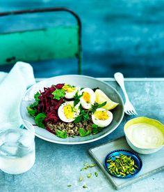 Quinoa pilaf with beetroot, egg and tahini yoghurt recipe :: Gourmet Traveller Beet Recipes, Healthy Diet Recipes, Veggie Recipes, Simple Recipes, Healthy Salads, Quinoa Broccoli, Quinoa Pilaf, Ways To Cook Chicken, Gourmet