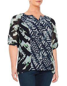 Calvin Klein Plus Plus Graphic Blouse Women's Blue 0X