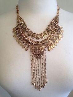 Vintage-Bronze-Necklace-Moroccan-Tassel-Boho-Hippie-Tribal-Dance-Bohemian-UK
