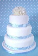Blue gingham ribbon wedding cake