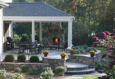 fireplace Outdoor Fireplace Brick, Outdoor Fireplace Designs, Brick Fireplace Makeover, Backyard Fireplace, Outdoor Fireplaces, Fireplace Ideas, Concrete Patios, Flagstone Patio, Patio Railing