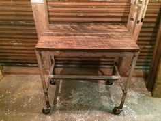 Ordinaire Kitchen Cart With Reclaimed Wood Top And Distressed Steel Base