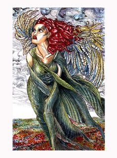 My second color Angel Illustration from the very short, limited series. Full color and created with Water Color paint, pencil crayon, pen and ink and other wet and dry mediums. Zombie Art, Disney Characters, Fictional Characters, Angel, Disney Princess, Painting, Etsy, Angels, Painting Art