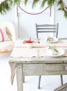 I will have a limited selection of vintage grain sack runners available with my Christmas collection on December Country Christmas, All Things Christmas, Christmas Home, White Wash Table, King Size Pillows, Christmas Table Settings, Grain Sack, Furniture Covers, Deco Table