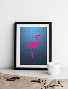 Pink Flamingo  Printable Graphics  Instant Download di HubLab