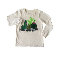 Cactus Time: Hand Stitched Organic Cotton Mushpa + Mensa Designer 4 Toddler Long Sleeve Tee With Custom EcoFi Felt Appliques My Daughter Birthday, Felt Applique, Recycle Plastic Bottles, Hand Stitching, Appliques, Cool Shirts, Really Cool Stuff, Hand Sewing, Organic Cotton