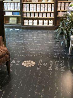 Barb Skivington's beautiful french script stenciled studio floor