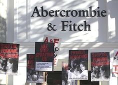 People protest against Abercrombie's perfume arguing that there are 14 hidden chemicals in the perfumes which harm the people and the environment.
