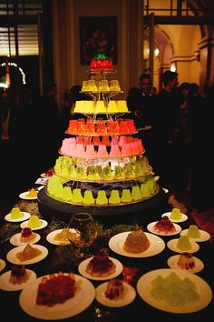 instead of cake, why not fancy Jello Shots?!  these are from a wedding in England, made by Bompass & Parr. Keep it classy.
