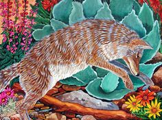 Leaping Coyote ~ by Kendahl Jan Jubb Koi Painting, Bear Paintings, Nature Artwork, Southwest Art, Coyotes, Still Life, Wildlife, Animals, Art In Nature
