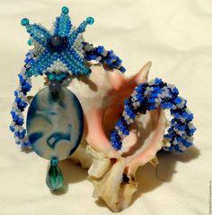"""Купить Кулон """"Морская звезда"""" - голубой, Кулон ручной работы, морская звезда"""