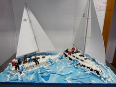 Full view sailing boats cake / Vista total barcos vela